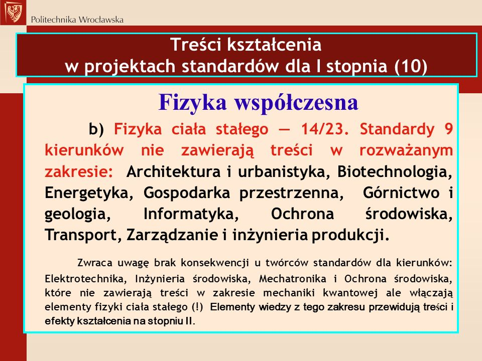 Treści kształcenia w projektach standardów dla I stopnia (10) Fizyka współczesna b) Fizyka ciała stałego 14/23. Standardy 9 kierunków nie zawierają tr