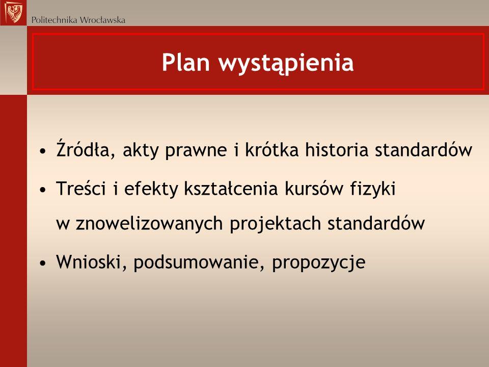Plan wystąpienia Źródła, akty prawne i krótka historia standardów Treści i efekty kształcenia kursów fizyki w znowelizowanych projektach standardów Wn