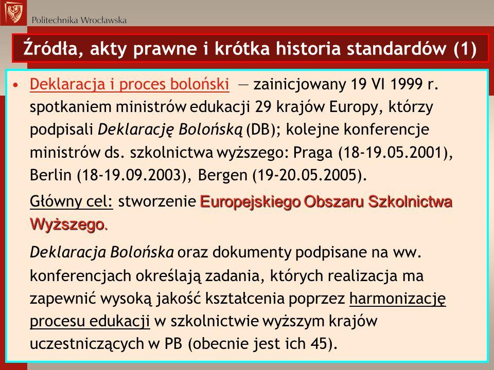 Źródła, akty prawne i krótka historia standardów (1) Deklaracja i proces boloński zainicjowany 19 VI 1999 r. spotkaniem ministrów edukacji 29 krajów E