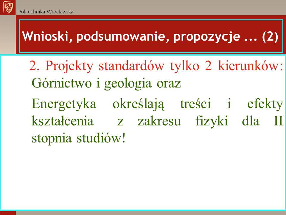 Wnioski, podsumowanie, propozycje... (2) 2. Projekty standardów tylko 2 kierunków: Górnictwo i geologia oraz Energetyka określają treści i efekty kszt