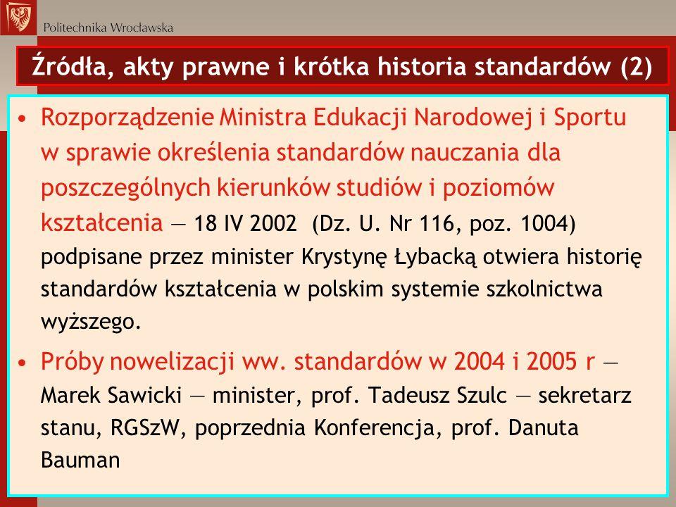 Źródła, akty prawne i krótka historia standardów (2) Rozporządzenie Ministra Edukacji Narodowej i Sportu w sprawie określenia standardów nauczania dla