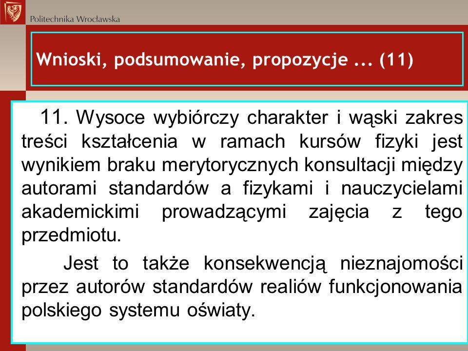 Wnioski, podsumowanie, propozycje... (11) 11. Wysoce wybiórczy charakter i wąski zakres treści kształcenia w ramach kursów fizyki jest wynikiem braku