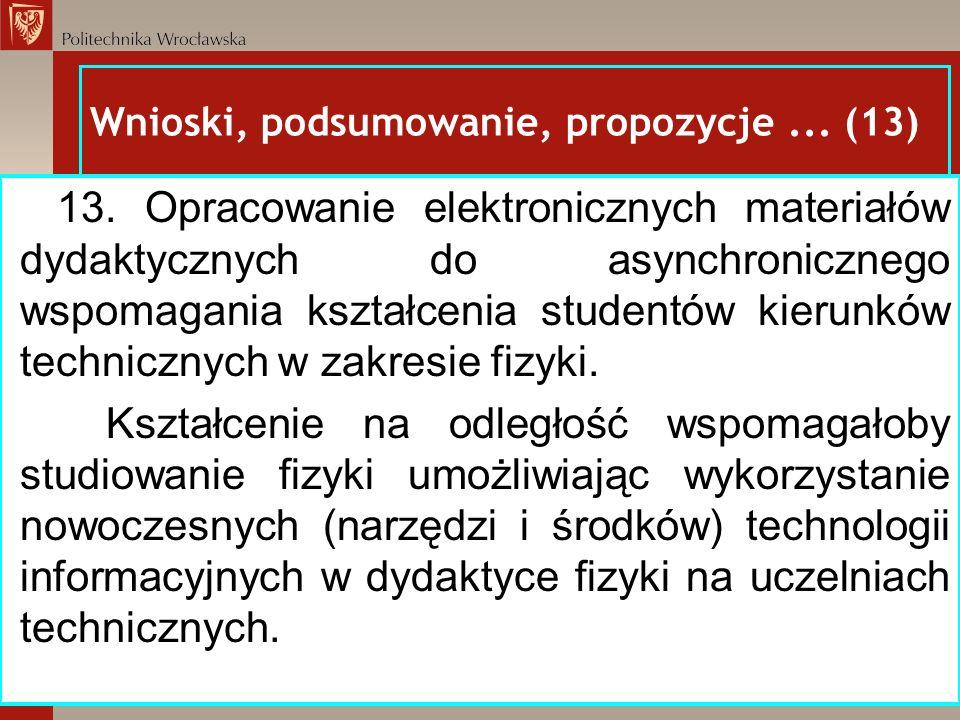 Wnioski, podsumowanie, propozycje... (13) 13. Opracowanie elektronicznych materiałów dydaktycznych do asynchronicznego wspomagania kształcenia student