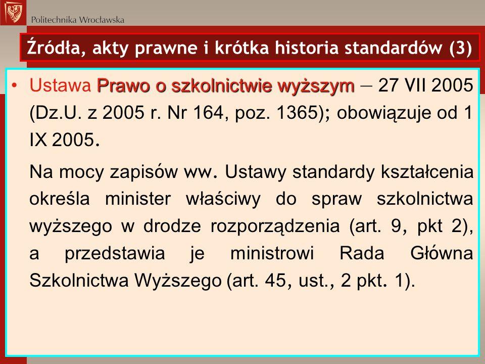 Źródła, akty prawne i krótka historia standardów (3) Prawo o szkolnictwie wyższymUstaw a Prawo o szkolnictwie wyższym 27 VII 2005 (Dz.U. z 2005 r. Nr