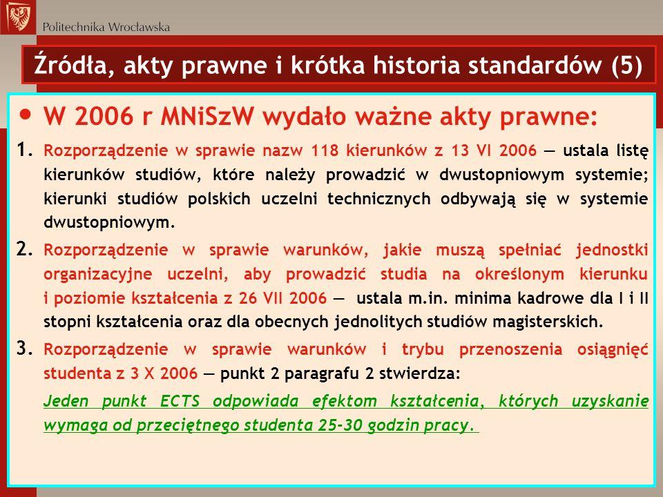Źródła, akty prawne i krótka historia standardów (5) W 2006 r MNiSzW wydało ważne akty prawne: 1. Rozporządzenie w sprawie nazw 118 kierunków z 13 VI