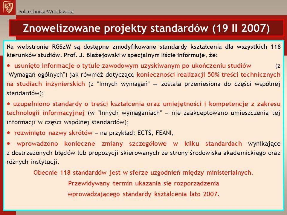 Znowelizowane projekty standardów (19 II 2007) Na webstronie RGSzW są dostępne zmodyfikowane standardy kształcenia dla wszystkich 118 kierunków studió