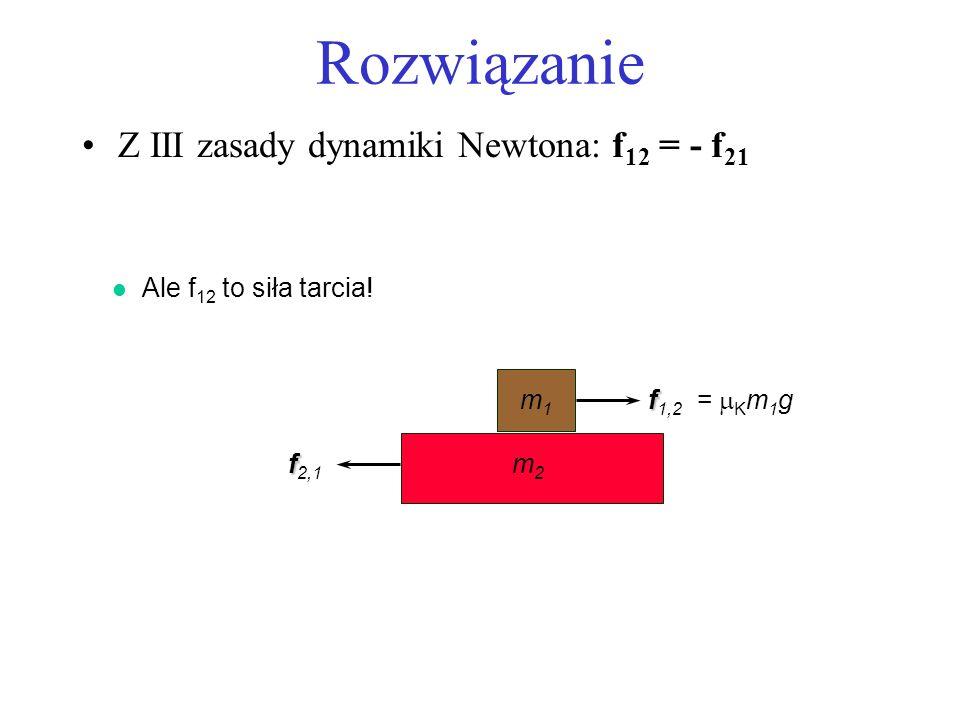 Rozwiązanie Z III zasady dynamiki Newtona: f 12 = - f 21 m1m1 f f 1,2 m2m2 f f 2,1 l Ale f 12 to siła tarcia! = K m 1 g