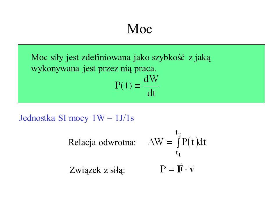 Moc Moc siły jest zdefiniowana jako szybkość z jaką wykonywana jest przez nią praca. Jednostka SI mocy 1W = 1J/1s Relacja odwrotna: Związek z siłą: