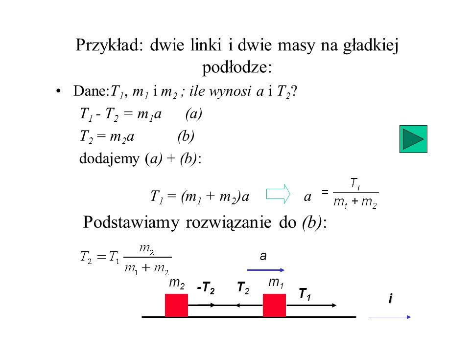Przykład: dwie linki i dwie masy na gładkiej podłodze: m2m2 m1m1 T2T2 T1T1 Dane:T 1, m 1 i m 2 ; ile wynosi a i T 2 ? T 1 - T 2 = m 1 a (a) T 2 = m 2