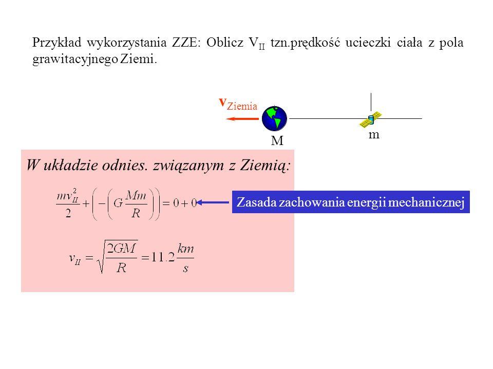 Przykład wykorzystania ZZE: Oblicz V II tzn.prędkość ucieczki ciała z pola grawitacyjnego Ziemi. M m v satelity v Ziemia W układzie odnies. związanym
