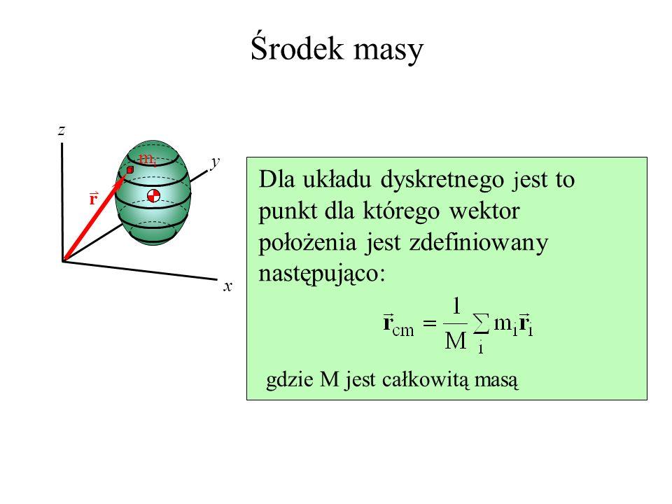 Środek masy x y z mimi Dla układu dyskretnego j est to punkt dla którego wektor położenia jest zdefiniowany następująco: gdzie M jest całkowitą masą r