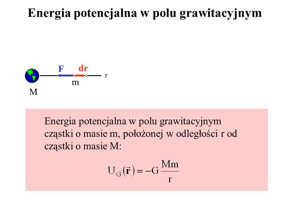 Energia potencjalna w polu grawitacyjnym M m r dr F Energia potencjalna w polu grawitacyjnym cząstki o masie m, położonej w odległości r od cząstki o