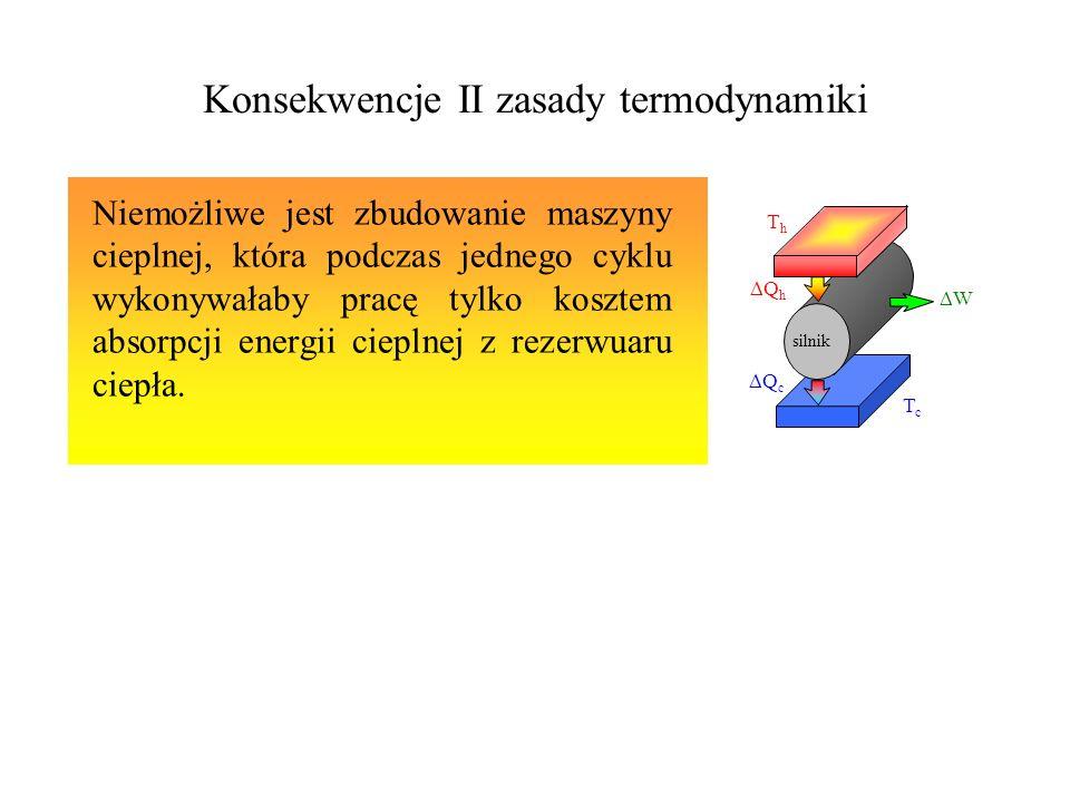 II zasada termodynamiki Dla każdego procesu termodynamicznego w którym następuje przejście od jednego stanu równowagowego do drugiego, całkowita entropia ukladu i jego otoczenia nie może maleć.