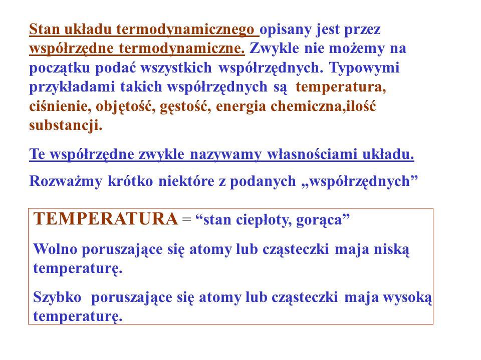 I zasada termodynamiki Dla każdego procesu termodynamicznego, różnica miedzy ciepłem dostarczonym do układu a pracą wykonaną przez układ zależy tylko od początkowego i końcowego stanu układu.