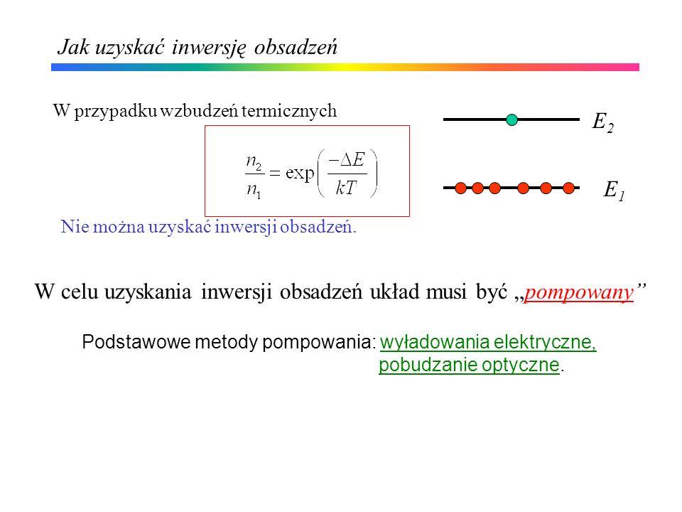 Jak uzyskać inwersję obsadzeń W przypadku wzbudzeń termicznych Podstawowe metody pompowania: wyładowania elektryczne, pobudzanie optyczne. Nie można u