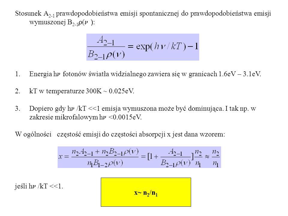 Stosunek A 2-1 prawdopodobieństwa emisji spontanicznej do prawdopodobieństwa emisji wymuszonej B 2-1 ( : 1.Energia h fotonów światła widzialnego zawie