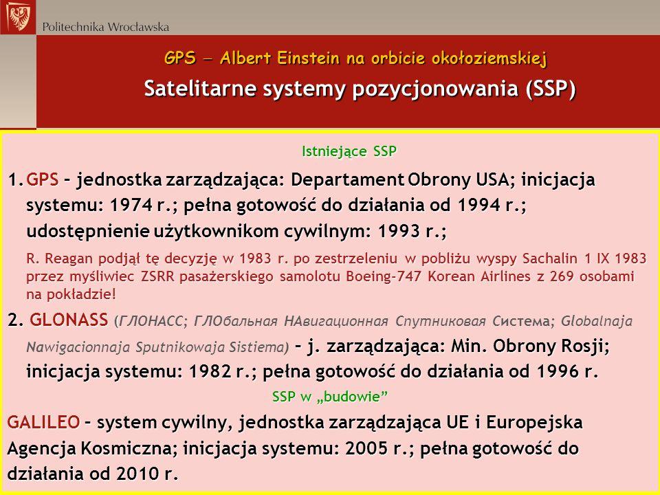 GPS Albert Einstein na orbicie okołoziemskiej Satelitarne systemy pozycjonowania (SSP) Istniejące SSP 1.GPS – jednostka zarządzająca: Departament Obro