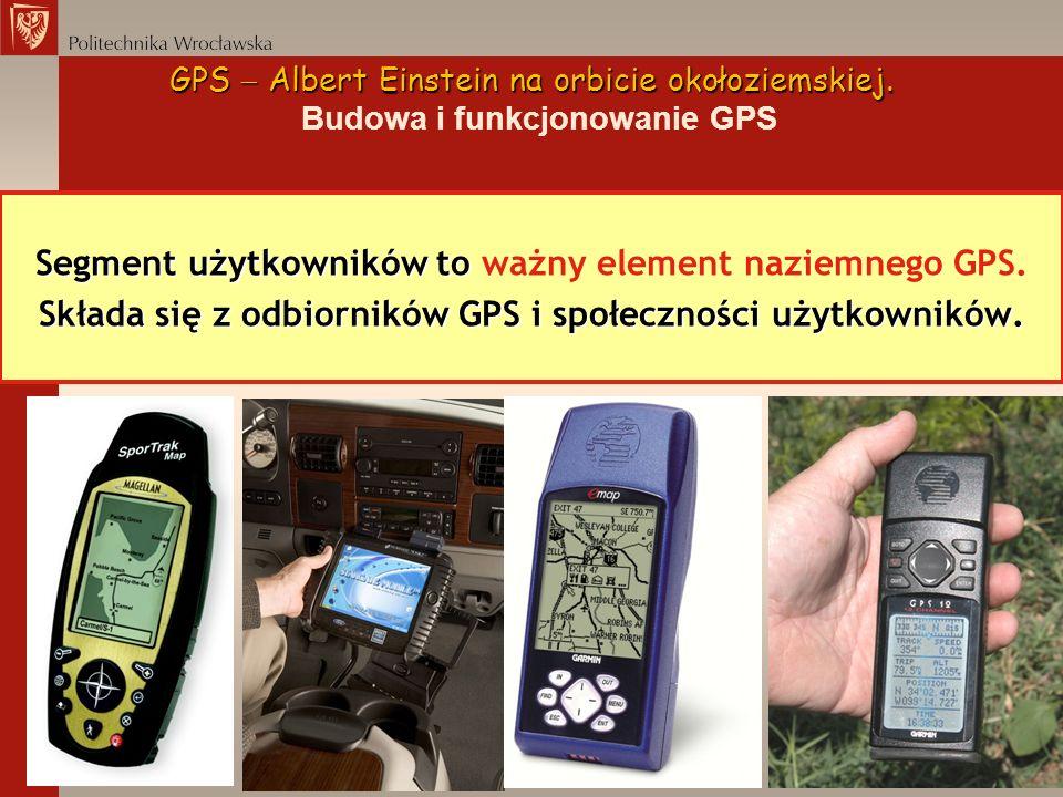 Segment użytkowników to Segment użytkowników to ważny element naziemnego GPS. Składa się z odbiorników GPS i społeczności użytkowników. GPS Albert Ein