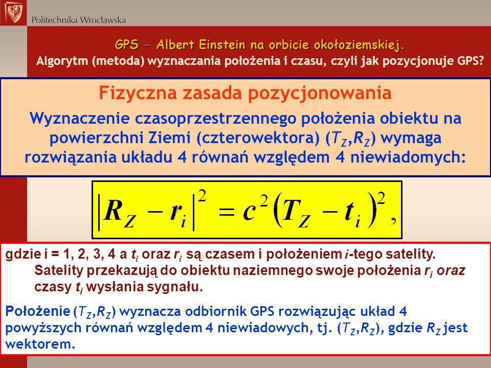 GPS Albert Einstein na orbicie okołoziemskiej. GPS Albert Einstein na orbicie okołoziemskiej. Algorytm (metoda) wyznaczania położenia i czasu, czyli j