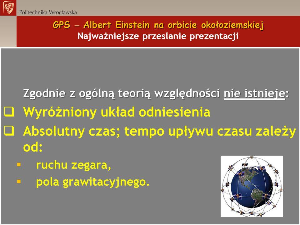 GPS Albert Einstein na orbicie okołoziemskiej GPS Albert Einstein na orbicie okołoziemskiej Najważniejsze przesłanie prezentacji Zgodnie z ogólną teor