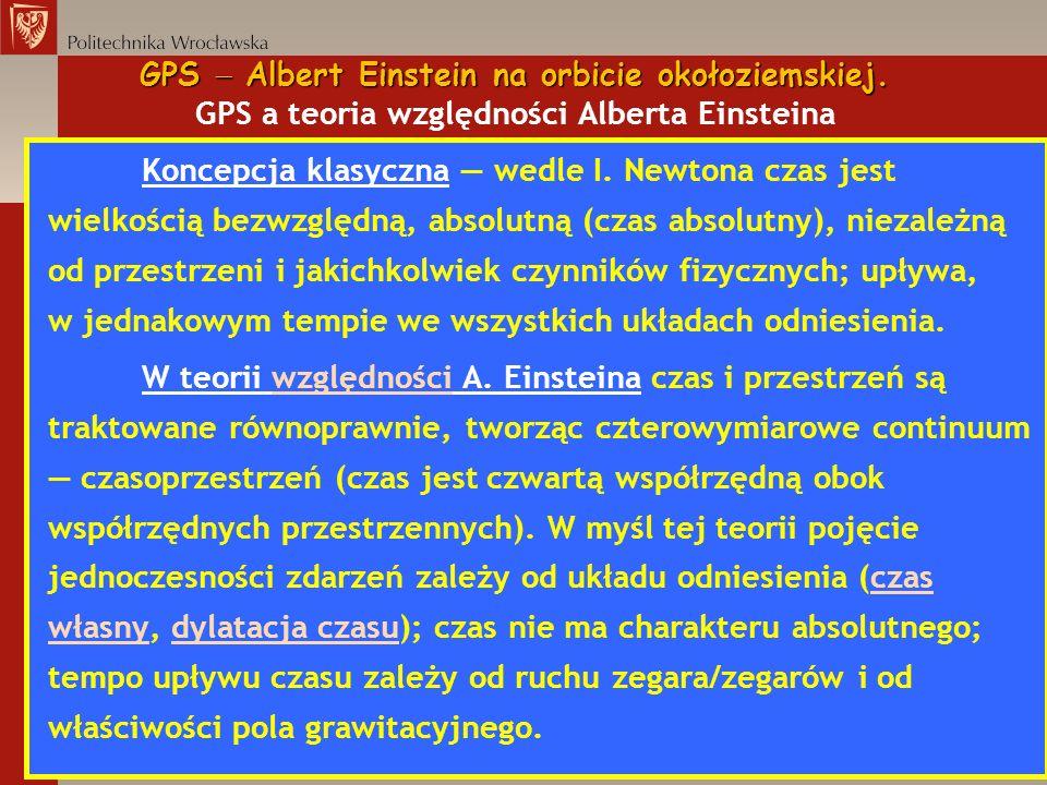 GPS Albert Einstein na orbicie okołoziemskiej. GPS Albert Einstein na orbicie okołoziemskiej. GPS a teoria względności Alberta Einsteina Koncepcja kla
