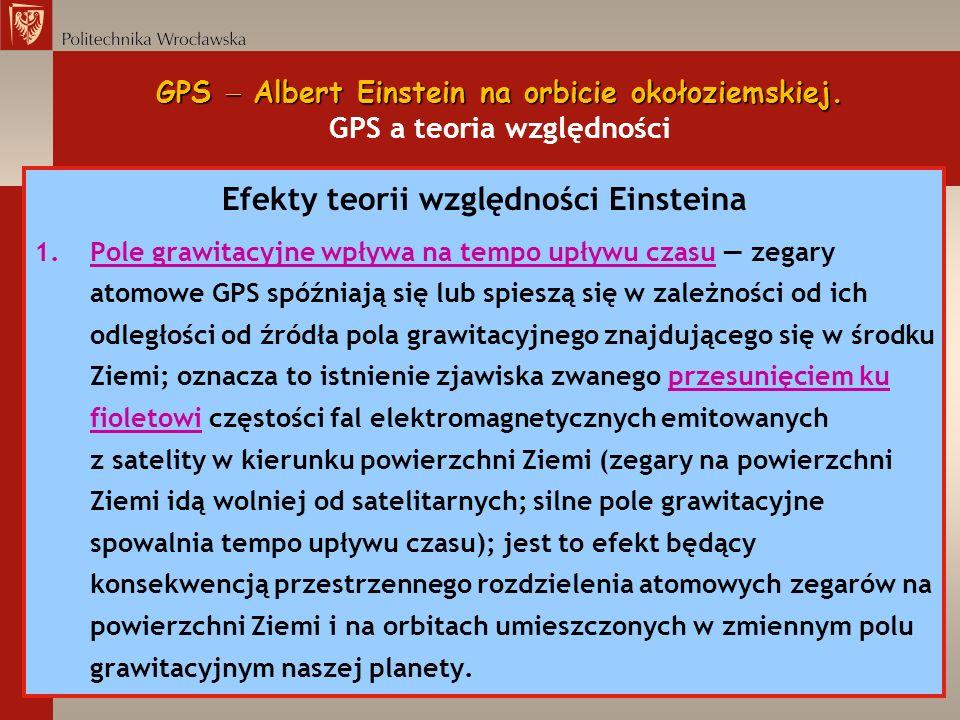 GPS Albert Einstein na orbicie okołoziemskiej. GPS Albert Einstein na orbicie okołoziemskiej. GPS a teoria względności Efekty teorii względności Einst