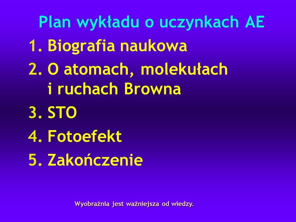 Plan wykładu o uczynkach AE 1.Biografia naukowa 2.O atomach, molekułach i ruchach Browna 3.STO 4.Fotoefekt 5.Zakończenie Wyobraźnia jest ważniejsza od