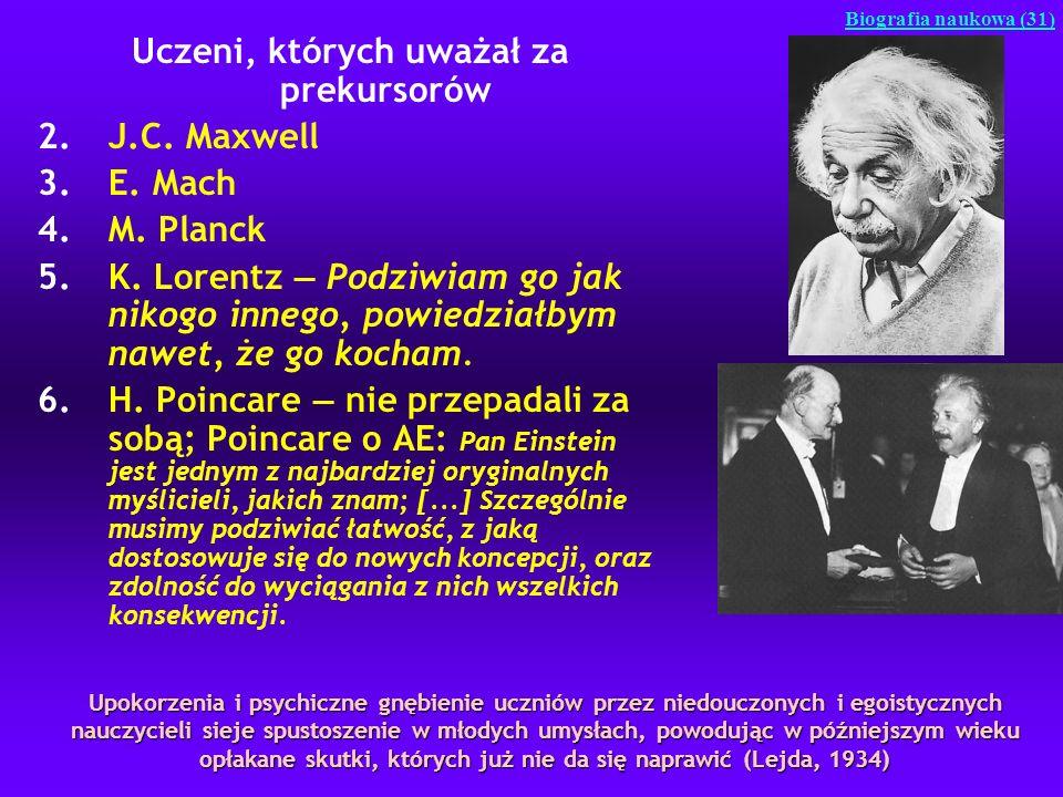 Uczeni, których uważał za prekursorów 2.J.C. Maxwell 3.E. Mach 4.M. Planck 5.K. Lorentz Podziwiam go jak nikogo innego, powiedziałbym nawet, że go koc