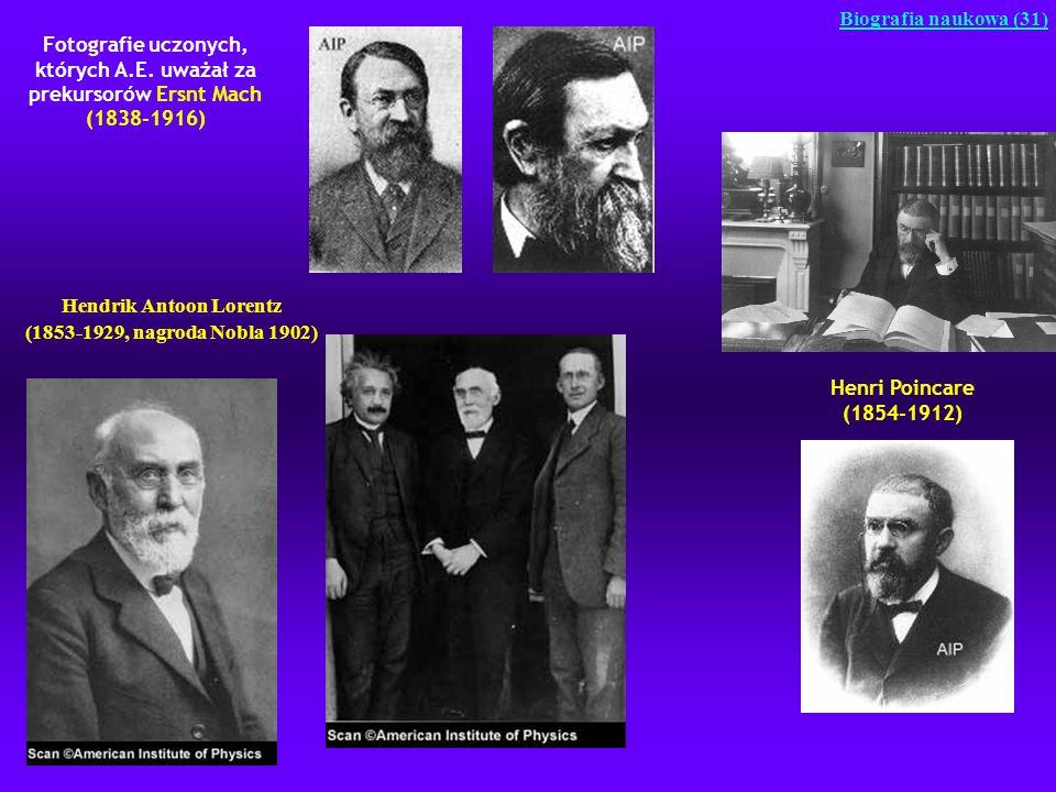 Fotografie uczonych, których A.E. uważał za prekursorów Ersnt Mach (1838-1916) Biografia naukowa (31) Hendrik Antoon Lorentz (1853-1929, nagroda Nobla