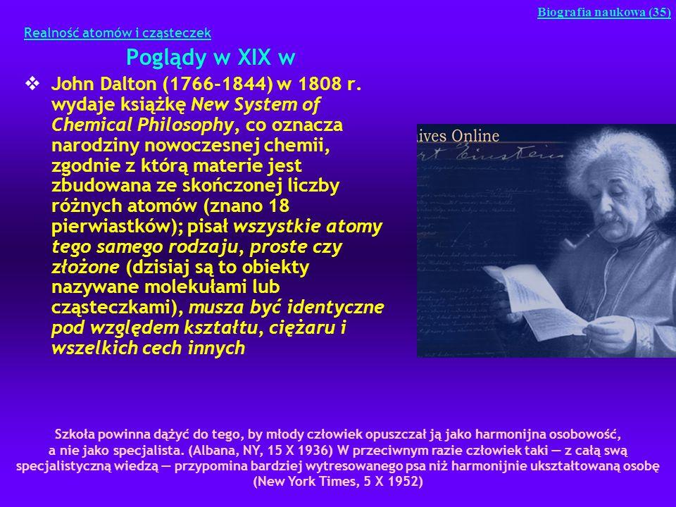 Realność atomów i cząsteczek Poglądy w XIX w John Dalton (1766-1844) w 1808 r. wydaje książkę New System of Chemical Philosophy, co oznacza narodziny
