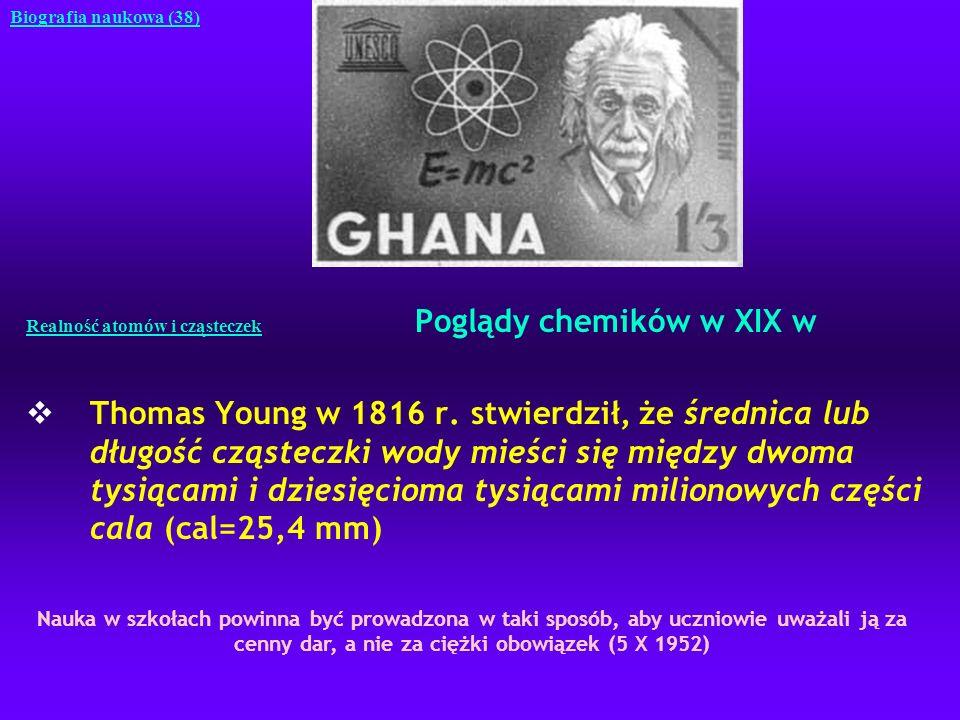 Realność atomów i cząsteczek Poglądy chemików w XIX w Thomas Young w 1816 r. stwierdził, że średnica lub długość cząsteczki wody mieści się między dwo