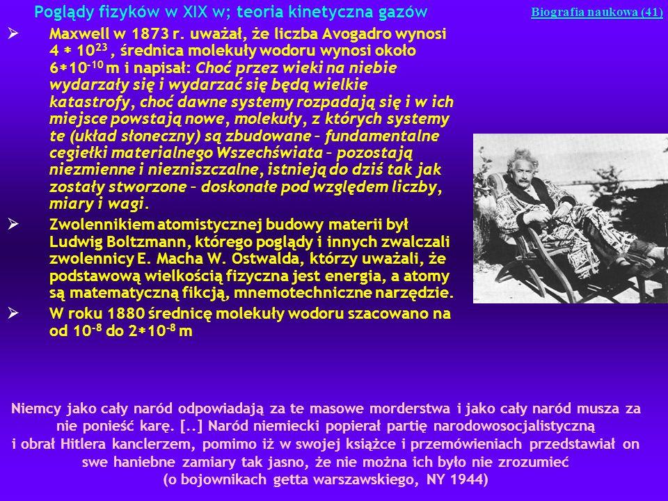 Poglądy fizyków w XIX w; teoria kinetyczna gazów Maxwell w 1873 r. uważał, że liczba Avogadro wynosi 4 10 23, średnica molekuły wodoru wynosi około 6
