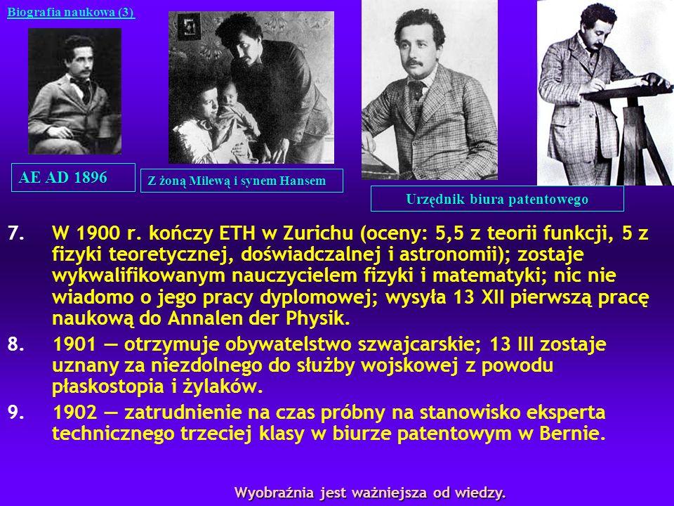 7.W 1900 r. kończy ETH w Zurichu (oceny: 5,5 z teorii funkcji, 5 z fizyki teoretycznej, doświadczalnej i astronomii); zostaje wykwalifikowanym nauczyc