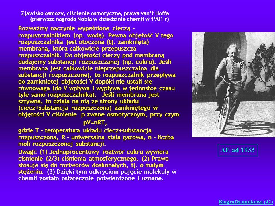 Zjawisko osmozy, ciśnienie osmotyczne, prawa vant Hoffa (pierwsza nagroda Nobla w dziedzinie chemii w 1901 r) Rozważmy naczynie wypełnione cieczą – ro