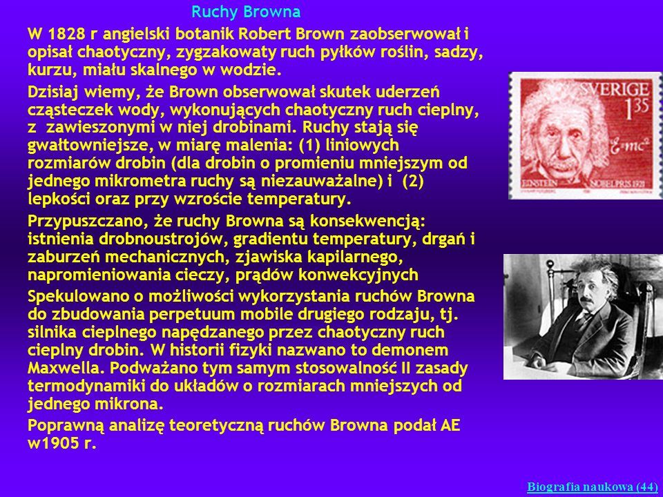 Ruchy Browna W 1828 r angielski botanik Robert Brown zaobserwował i opisał chaotyczny, zygzakowaty ruch pyłków roślin, sadzy, kurzu, miału skalnego w