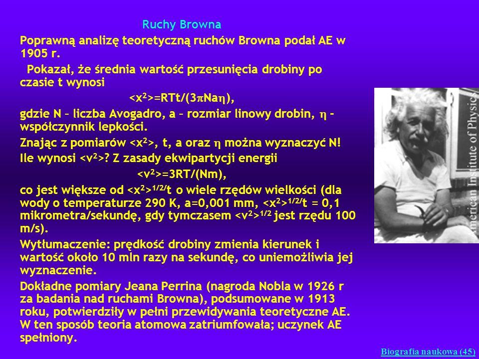 Ruchy Browna Poprawną analizę teoretyczną ruchów Browna podał AE w 1905 r. Pokazał, że średnia wartość przesunięcia drobiny po czasie t wynosi =RTt/(3