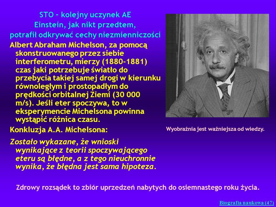 STO – kolejny uczynek AE Einstein, jak nikt przedtem, potrafił odkrywać cechy niezmienniczości Albert Abraham Michelson, za pomocą skonstruowanego prz