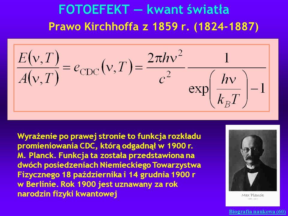 FOTOEFEKT kwant światła Prawo Kirchhoffa z 1859 r. (1824-1887) Wyrażenie po prawej stronie to funkcja rozkładu promieniowania CDC, którą odgadnął w 19
