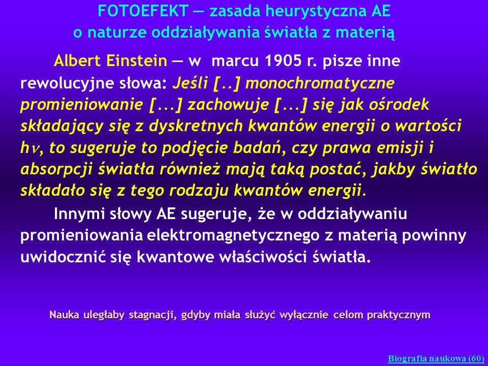 FOTOEFEKT zasada heurystyczna AE o naturze oddziaływania światła z materią Biografia naukowa (60) Albert Einstein w marcu 1905 r. pisze inne rewolucyj
