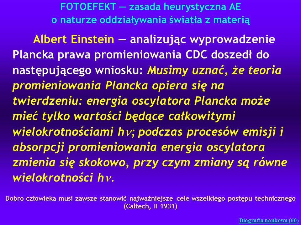FOTOEFEKT zasada heurystyczna AE o naturze oddziaływania światła z materią Biografia naukowa (60) Albert Einstein analizując wyprowadzenie Plancka pra