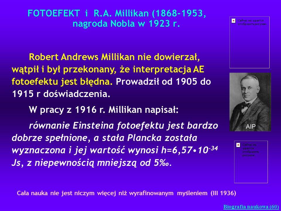 FOTOEFEKT i R.A. Millikan (1868-1953, nagroda Nobla w 1923 r. Biografia naukowa (60) Robert Andrews Millikan nie dowierzał, wątpił i był przekonany, ż