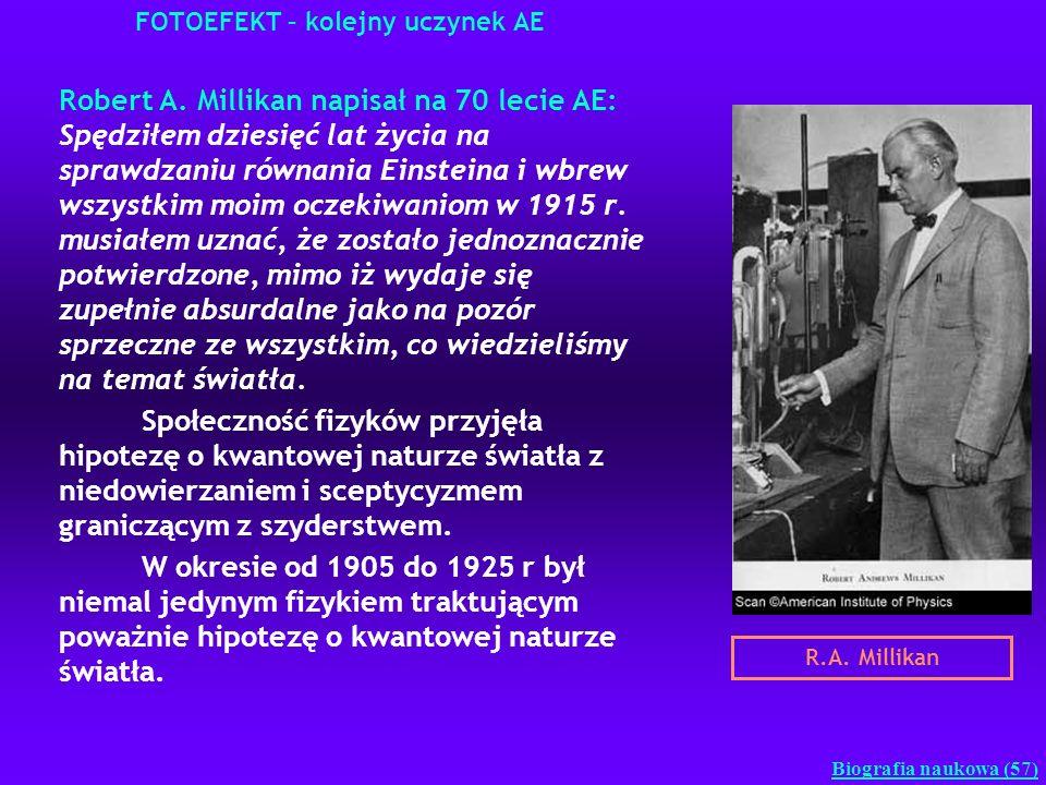 FOTOEFEKT – kolejny uczynek AE Robert A. Millikan napisał na 70 lecie AE: Spędziłem dziesięć lat życia na sprawdzaniu równania Einsteina i wbrew wszys