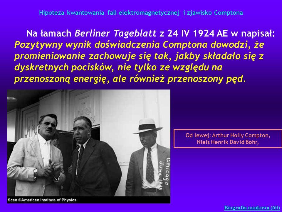 Hipoteza kwantowania fali elektromagnetycznej i zjawisko Comptona Biografia naukowa (60) Na łamach Berliner Tageblatt z 24 IV 1924 AE w napisał: Pozyt