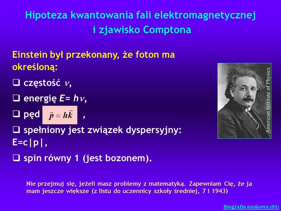 Hipoteza kwantowania fali elektromagnetycznej i zjawisko Comptona Biografia naukowa (60) Einstein był przekonany, że foton ma określoną: częstość, ene