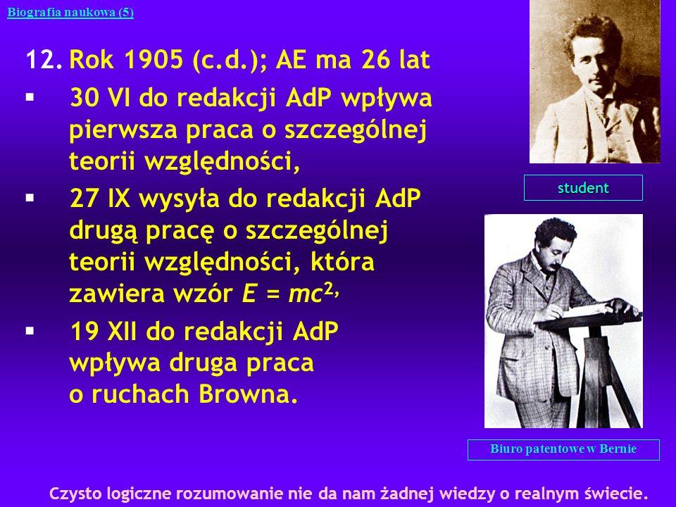 STO kolejny uczynek AE; najwybitniejsze osiągnięcie nauki XX w, zarówno ze względu na zawartość, jak i na styl.Einstein, jak nikt przedtem, potrafił odkrywać cechy niezmienniczości Estetyczne źródła STO; powstała w okresie od 10 maja do 15 czerwca 1905 r (pięć tygodni) AE kierował się przy tym dążeniem do prostoty (argument estetyczny) Szczególna, ponieważ odnosi się do inercjalnych układów odniesienia Uczynki AE w dziedzinie STO 1.Odrzuca idee eteru, jako koncepcję zbyteczną, co oznacza, że nie istnieje absolutny układ odniesienia 2.Uogólnia transformacje Galileusza na wszystkie zjawiska i prawa fizyczne i przyjmuje postulat I STO: Prawa fizyki mają taką samą postać we wszystkich układach inercjalnych 3.Postulat II: W dowolnym układzie inercjalnym światło rozchodzi się z taka samą prędkością c, niezależnie od tego, czy jest emitowane przez ciało pozostające w spoczynku czy poruszające się ruchem jednostajnym prostoliniowym Biografia naukowa (49) Najcenniejszych rzeczy w życiu nie nabywa się za pieniądze