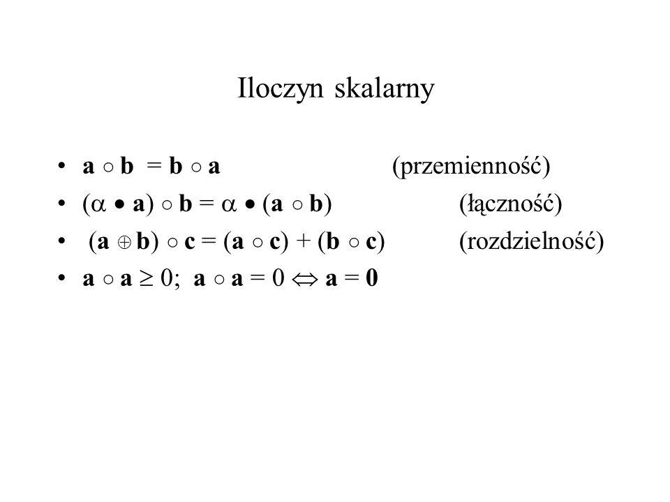 Iloczyn skalarny a b = b a (przemienność) ( a) b = (a b)(łączność) (a b) c = (a c) + (b c) (rozdzielność) a a 0; a a = 0 a = 0