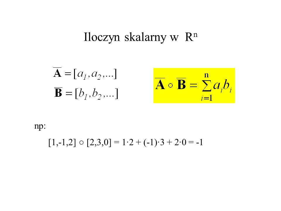 Iloczyn skalarny w R n np: [1,-1,2] [2,3,0] = 1·2 + (-1)·3 + 2·0 =
