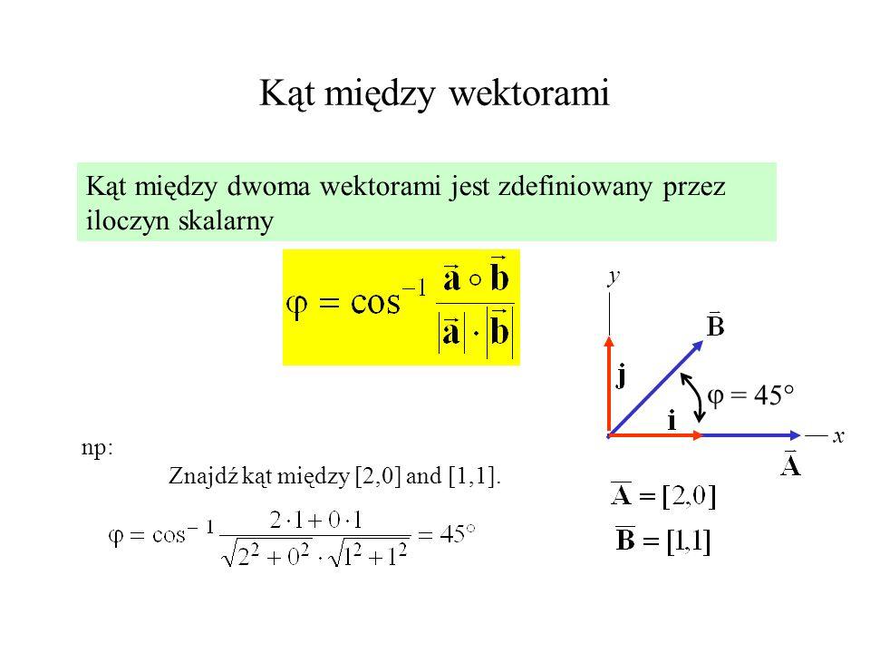 Kąt między wektorami Kąt między dwoma wektorami jest zdefiniowany przez iloczyn skalarny np: Znajdź kąt między [2,0] and [1,1]. x y = 45