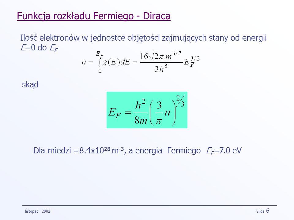 listopad 2002 Slide 6 Funkcja rozkładu Fermiego - Diraca Ilość elektronów w jednostce objętości zajmujących stany od energii E=0 do E F skąd Dla miedz