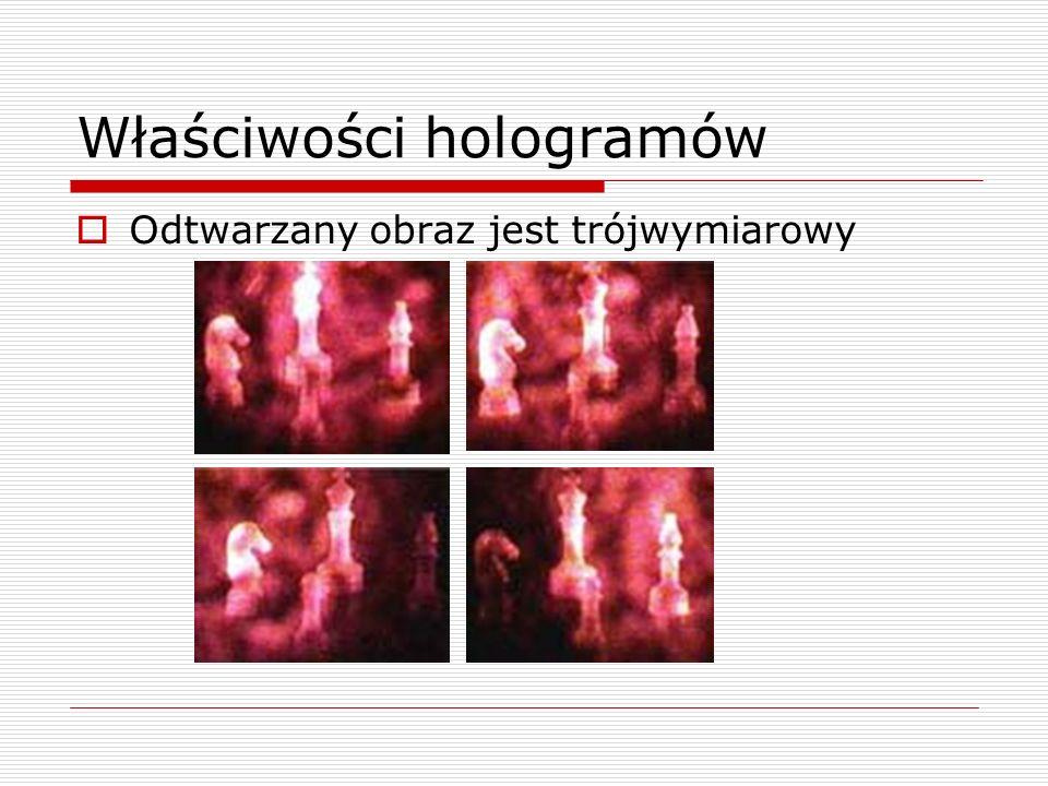 Właściwości hologramów Każda część hologramu zawiera całość obrazu